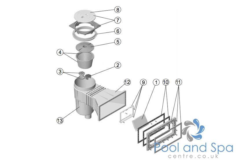 astral pool 17 5l wide mouth skimmer spare parts www. Black Bedroom Furniture Sets. Home Design Ideas