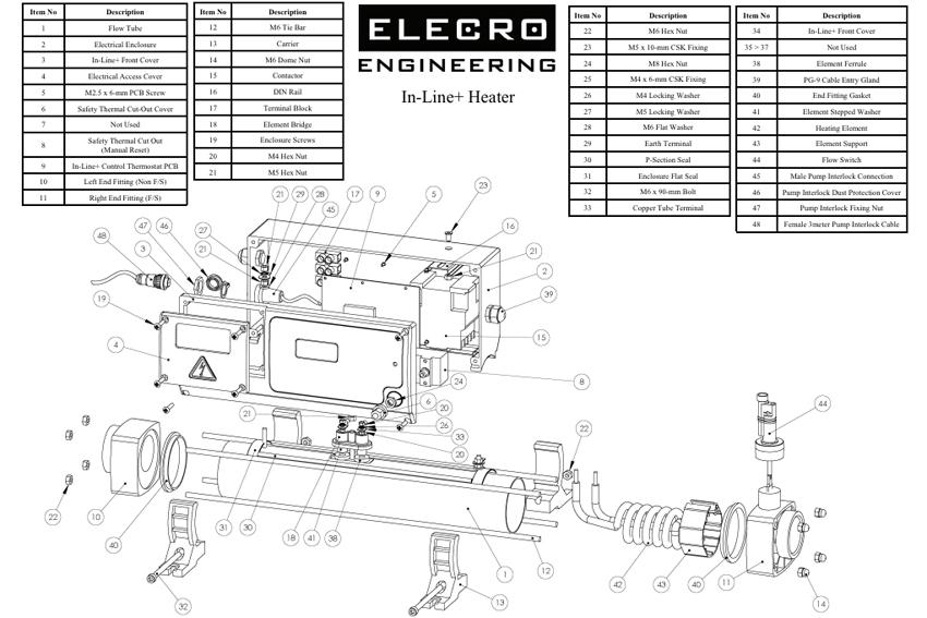 elecro engineering inline  heater spare parts