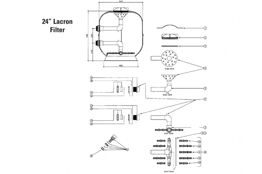 spare parts for 24 inch lacron filter